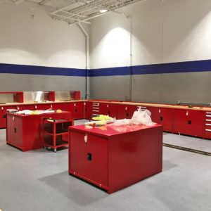 automotive workstations training tech tool box shelf garage red